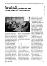 Dokument Tagungsbericht vom Altlastentag Hannover 2006 – Forum für Boden- und Grundwasserschutz