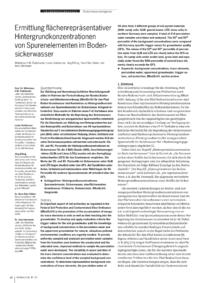 Dokument Ermittlung flächenrepräsentativer Hintergrundkonzentrationen von Spurenelementen im Bodensickerwasser