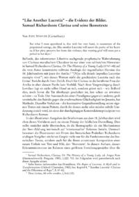 """Dokument """"Like Another Lucretia"""" – die Evidenz der Bilder. Samuel Richardsons Clarissa und seine Ikonotexte"""