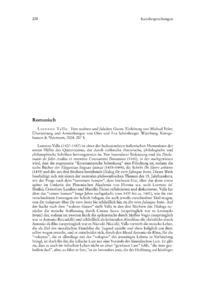 Dokument Lorenzo Valla: Vom wahren und falschen Guten. Einleitung von Michael Erler; Übersetzung und Anmerkungen von Otto und Eva Schönberger.