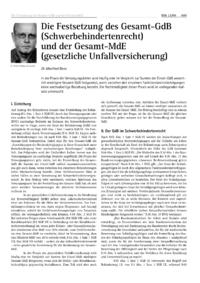 Dokument Die Festsetzung des Gesamt-GdB (Schwerbehindertenrecht) und der Gesamt-MdE (gesetzliche Unfallversicherung)