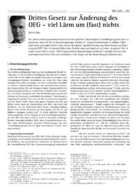 Dokument Drittes Gesetz zur Änderung des OEG – viel Lärm um (fast) nichts