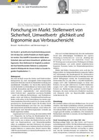 Dokument Forschung im Markt: Stellenwert von Sicherheit, Umweltverträglichkeit und Ergonomie aus Verbrauchersicht – Beispiel: Handmaschinen und Heimwerkergeräte