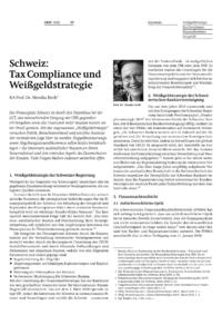 Schweiz: Tax Compliance und Weißgeldstrategie