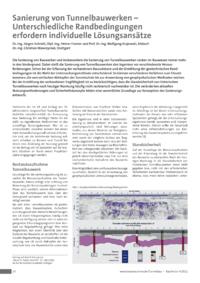Dokument Sanierung von Tunnelbauwerken – Unterschiedliche Randbedingungen erfordern individuelle Lösungsansätze