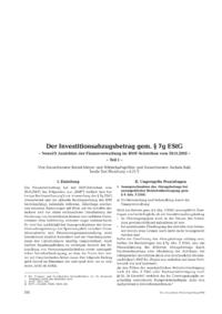 Dokument Der Investitionsabzugsbetrag gem. § 7g EStG – Teil I –