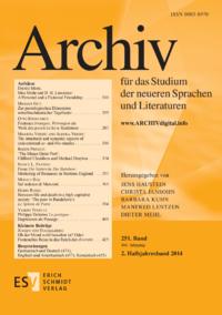 Dokument Archiv für das Studium der neueren Sprachen und Literaturen Ausgabe 02 2014