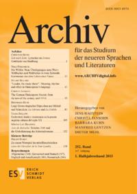 Dokument Archiv für das Studium der neueren Sprachen und Literaturen Ausgabe 01 2015