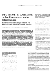 Dokument MBO und MBI als Alternativen zu familieninternen Nachfolgelösungen