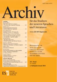 Dokument Archiv für das Studium der neueren Sprachen und Literaturen Ausgabe 02 2015