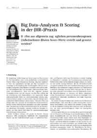 Dokument Big Data-Analysen & Scoring in der (HR-)Praxis
