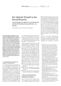 Dokument Der digitale Wandel in der Beraterbranche