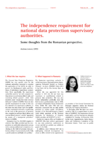 Dokument The independence requirement for national data protection supervisory authorities.