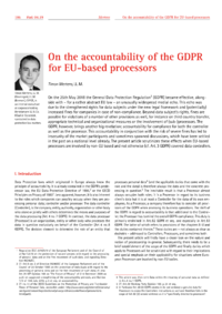 Dokument On the accountability of the GDPR for EU-based processors