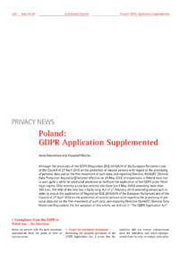 Dokument Poland: GDPR Application Supplemented