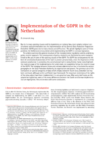 Dokument Implementation of the GDPR in the Netherlands