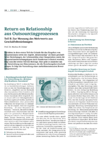 Dokument Return on Relationship aus Outsourcingprozessen – Teil B