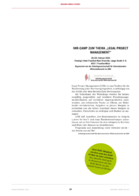 "Dokument IWR-Camp zum Thema ""Legal Project Management"""