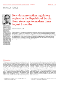 Dokument New data protection regulatory regime in the Republic of Serbia: from stone age to modern times in just 9 months