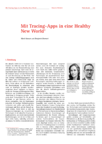 Dokument Mit Tracing-Apps in eine Healthy New World