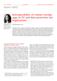 Dokument Interoperability of contact tracing apps in EU and data protection law implications