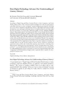 Dokument Does Digital Technology Advance Our Understanding of Literary History?