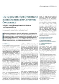 Dokument Die Segmentberichterstattung als Instrument der Corporate Governance