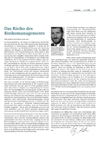 Dokument Das Risiko des Risikomanagements