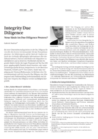 Dokument Integrity Due Diligence