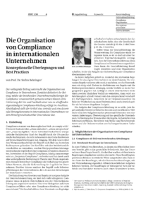 Dokument Die Organisation von Compliance in internationalen Unternehmen