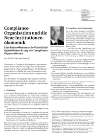 Dokument Compliance-Organisation und die neue Institutionenökonomik