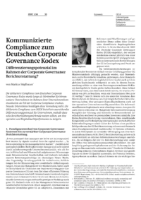 Dokument Kommunizierte Compliance zum Deutschen Corporate Governance Kodex