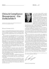 Dokument China & Compliance- Management – Ein Zielkonflikt?!