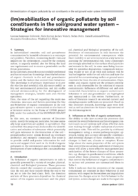 Dokument (Im)mobilization of organic pollutants by soil constituents in the soil/ground water system – Strategies for innovative management