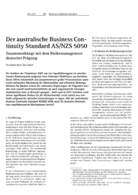 Dokument Der australische Business Continuity Standard AS/NZS 5050