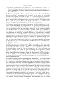 Dokument Cordula Politis, The Individualization of Fortune in the Sixteenth-Century Novels of Jörg Wickram. The Beginnings of the Modern Narrative in German Literature, with a preface by Ingrid Kasten, The Edwin Mellen Press, Lewiston, Queenston, Lampeter 2007, IV und 274 Seiten