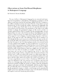 Dokument Observations on Some Final Bound Morphemes in Shakespeare's Language