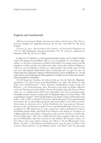 Dokument Old Age and Ageing in British and American Culture and Literature. Ed. Christa Jansohn (Studien zur englischen Literatur, 16). / Thomas Küpper: Das inszenierte Alter. Seniorität als literarisches Programm von 1750 bis 1850 (Epistemata: Literaturwissenschaft, 475).