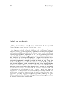 Dokument Merle Tönnies/Claus-Ulrich Viol : Introduction to the Study of British Culture. Tübingen: Gunter Narr, 2007. Pp. 312. Paper € 24.90.