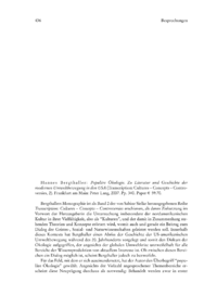 Dokument Hannes Bergthaller: Populäre Ökologie. Zu Literatur und Geschichte der modernen Umweltbewegung in den USA (Transcription: Cultures – Concepts – Controversies, 2). Frankfurt am Main: Peter Lang, 2007. Pp. 340. Paper € 59.70.