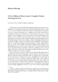Dokument A New Edition of Henry James's Complete Fiction: Choosing the Text