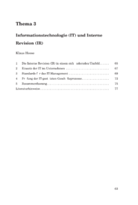 Dokument Informationstechnologie (IT) und Interne Revision (IR)