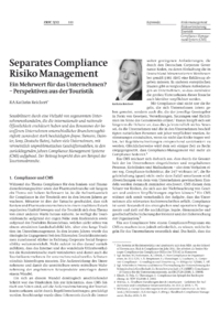 Dokument Separates Compliance Risiko Management