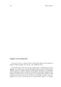 Dokument Elisabeth Okasha: Women's Names in Old English (Studies in Early Medieval Britain)