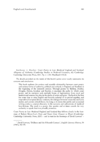 Dokument Anthony J. Hasler: Court Poetry in Late Medieval England and Scotland: Allegories of Authority
