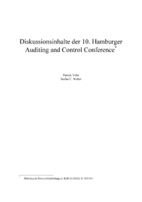 Dokument Diskussionsinhalte der 10. Hamburger Auditing and Control Conference