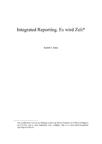 Dokument Integrated Reporting. Es wird Zeit
