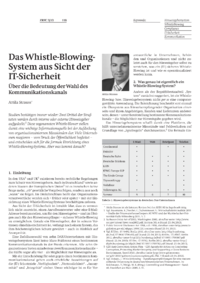 Dokument Das Whistle-Blowing-System aus Sicht der IT-Sicherheit