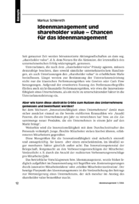 Dokument Ideenmanagement und shareholder value – Chancen für das Ideenmanagement