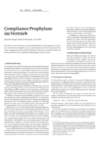 Dokument Compliance Prophylaxe im Vertrieb